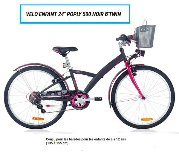 VELO ENFANT 24 POPLY 500 NOIR B'TWIN