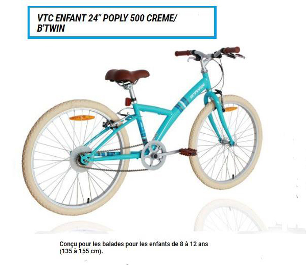 VTC ENFANT 24 POPLY 500 CREME/B'TWIN